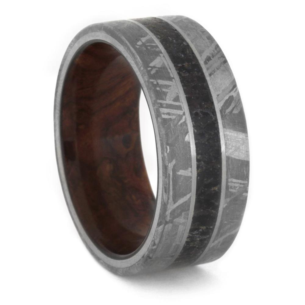 Dinosaur Bone Wedding Band Meteorite Ring With Exotic Wooden Sleeve