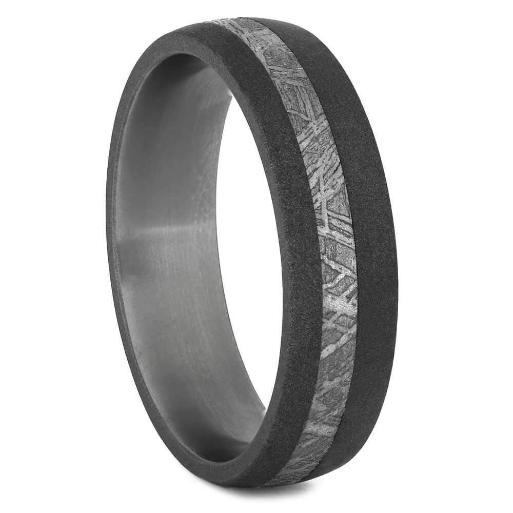 Men's Meteorite Wedding Band With Sandblasted Titanium-3903 - Jewelry by Johan