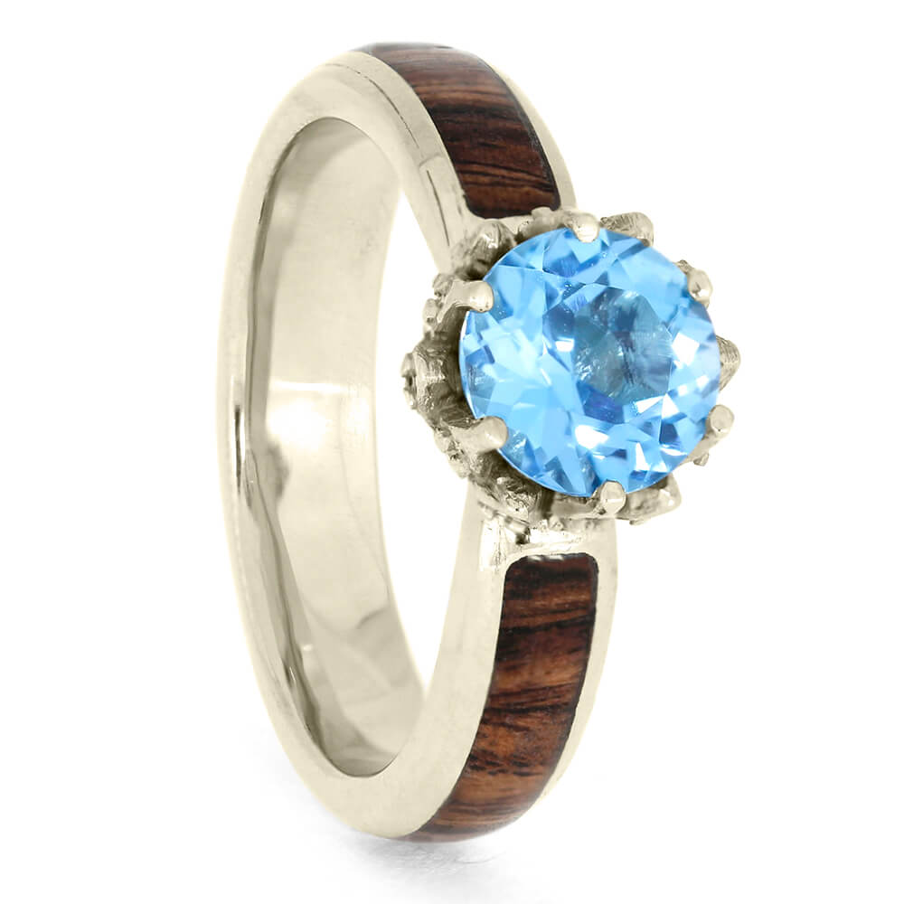 White Gold Lotus Set Topaz Engagement Ring with Moissanites and King Wood-3904 - Jewelry by Johan