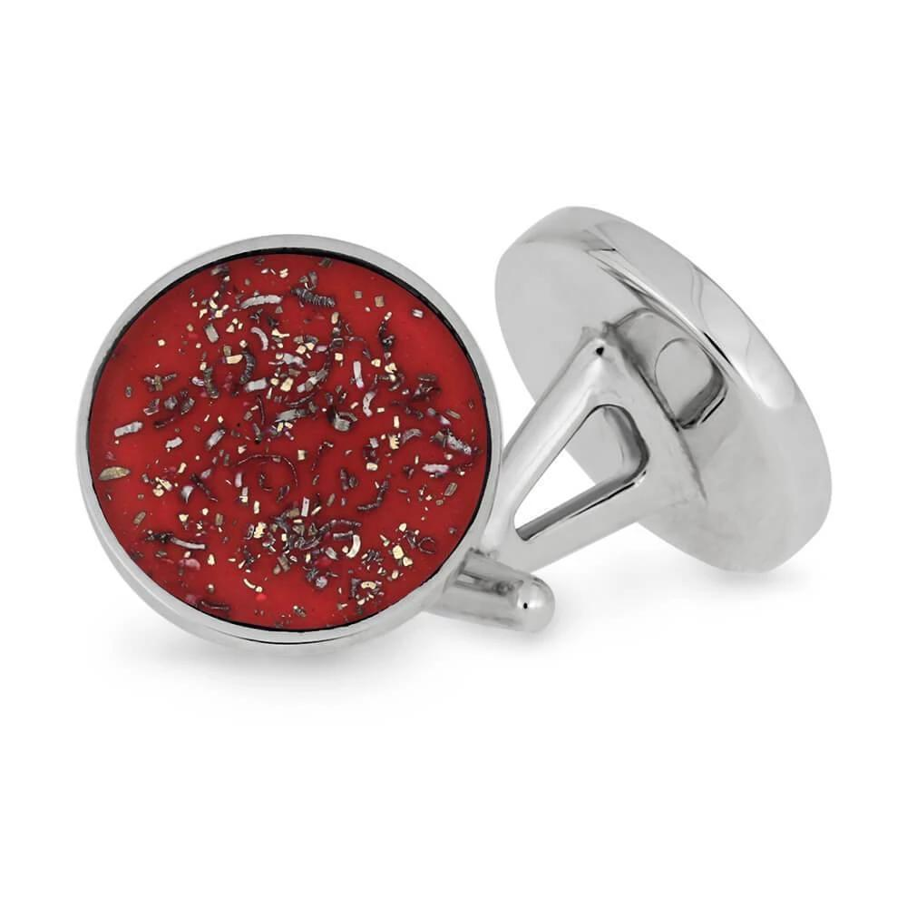 Round Red Stardust™ Cuff Links in Sterling Silver-3907 - Jewelry by Johan