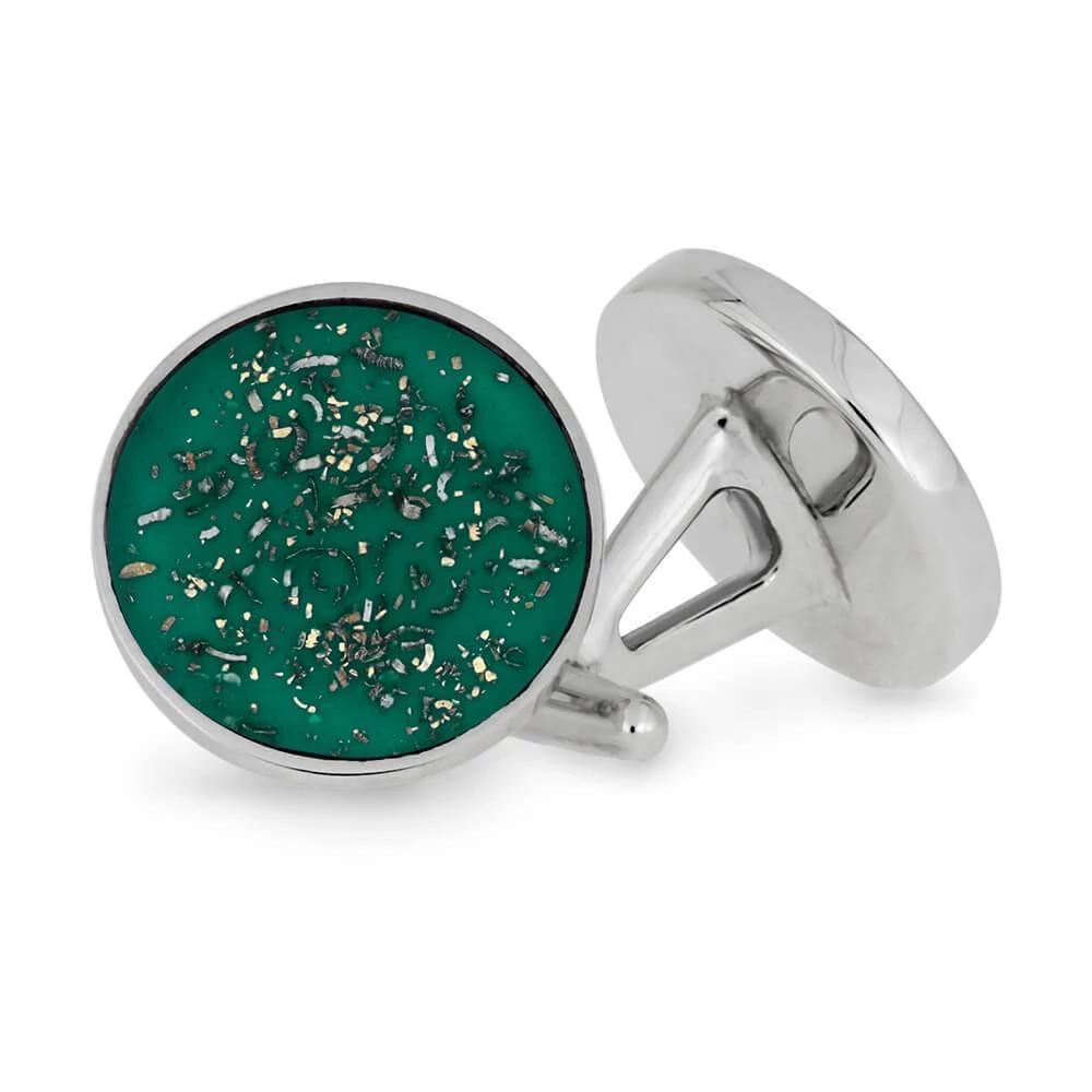 Green Stardust and Sterling Silver Cuff Links