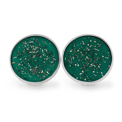 Round Green Stardust™ Cuff Links in Sterling Silver-3909 - Jewelry by Johan