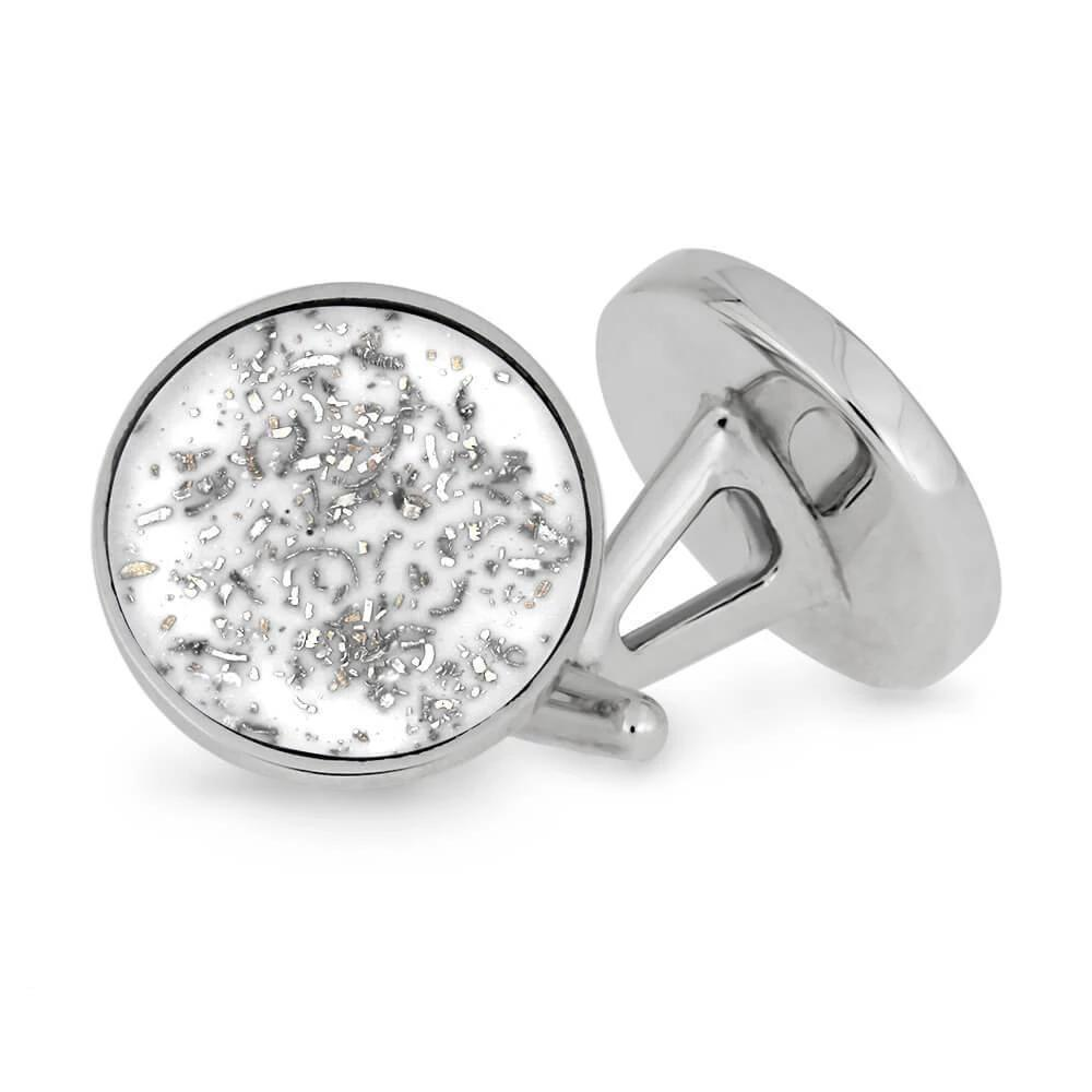 Round White Stardust™ Cuff Links in Sterling Silver-3911 - Jewelry by Johan