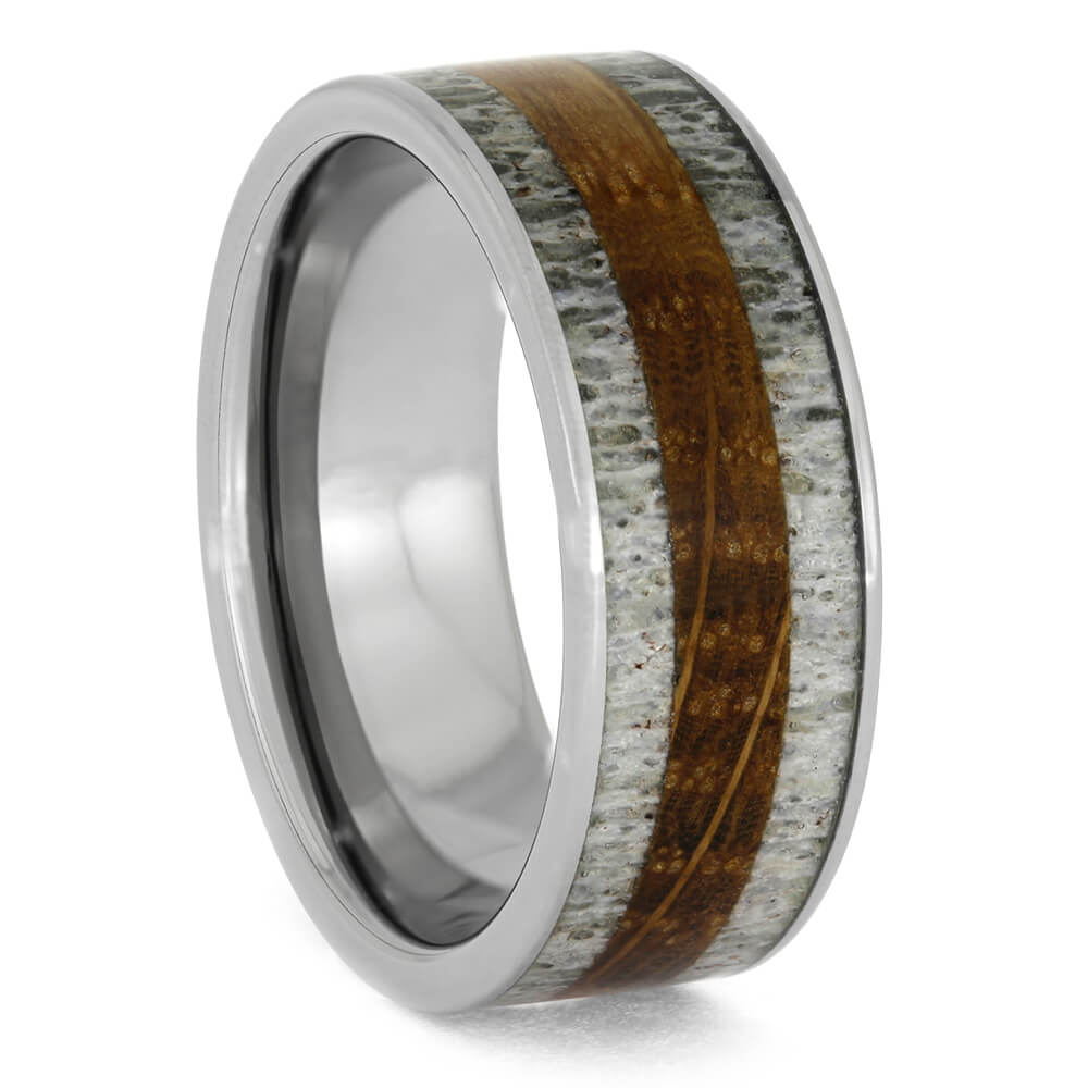 Whiskey Barrel Wood And Antler Men's Ring-3938 - Jewelry by Johan