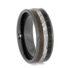 Wood and Dinosaur Bone Wedding Band with Black Ceramic