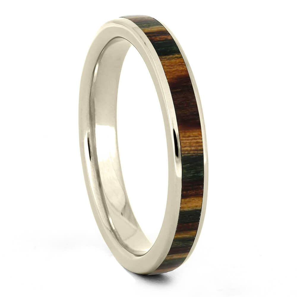 Thin White Gold Wood Wedding Band-3951 - Jewelry by Johan