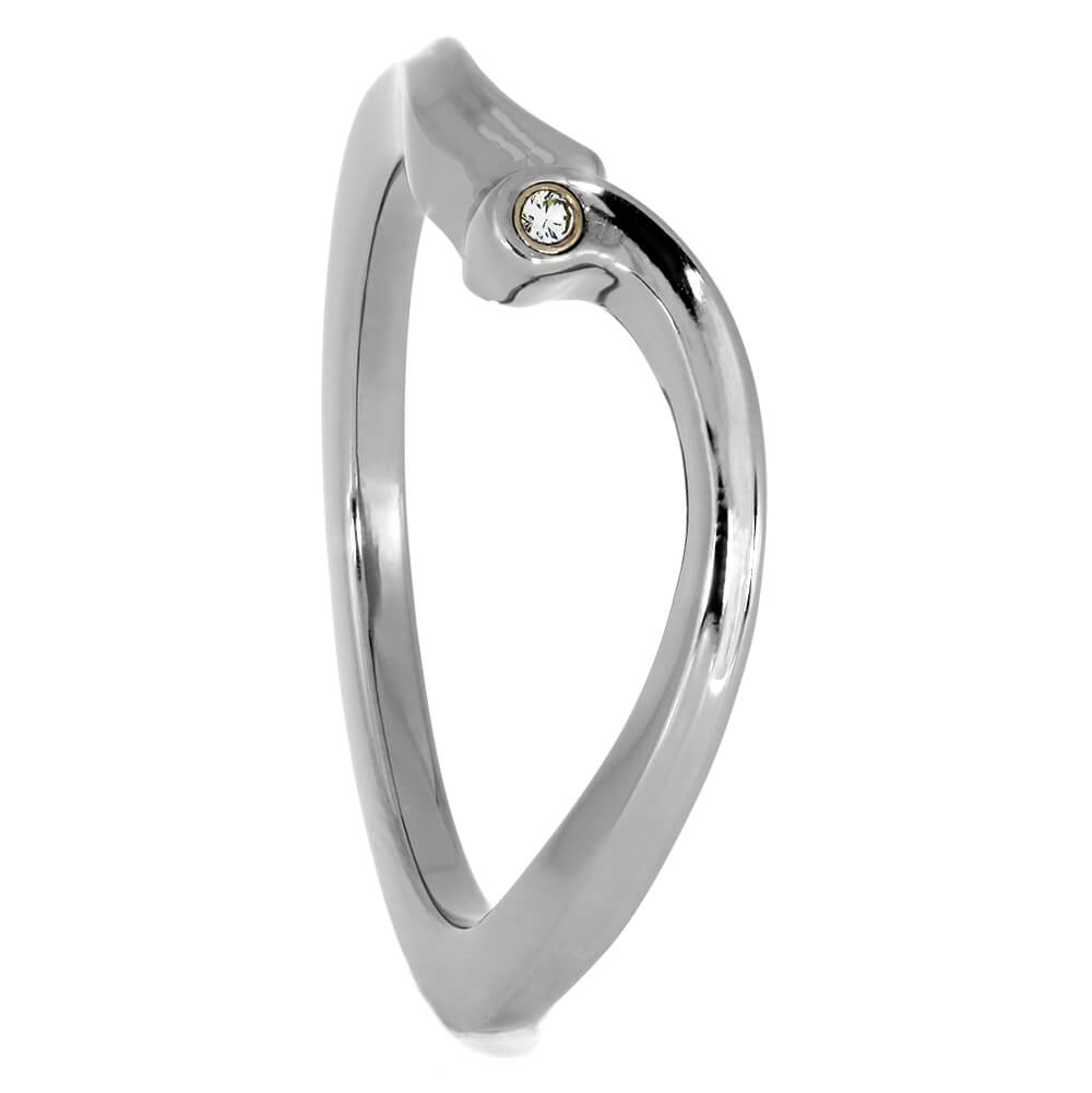Bezel Stone Shadow Band, Custom Matching Ring for Engagement Ring-3952 - Jewelry by Johan