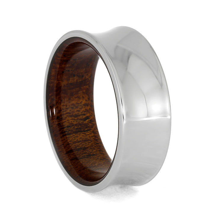 Concave Wedding Band, Mahogany Wood Ring-3954 - Jewelry by Johan