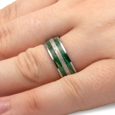Green Meteorite Wedding Ring