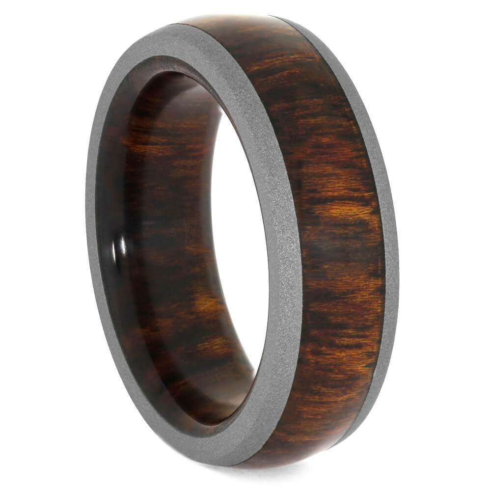 Carribean Rosewood Ring with Sandblasted Titanium Edges-3958 - Jewelry by Johan