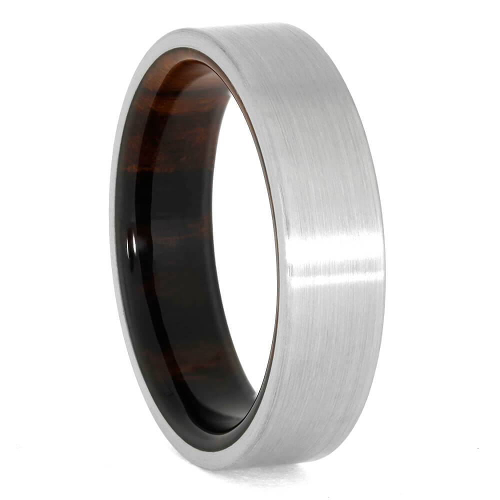 Wood Wedding Band, Brushed Titanium Ring with Ironwood Sleeve-3960 - Jewelry by Johan