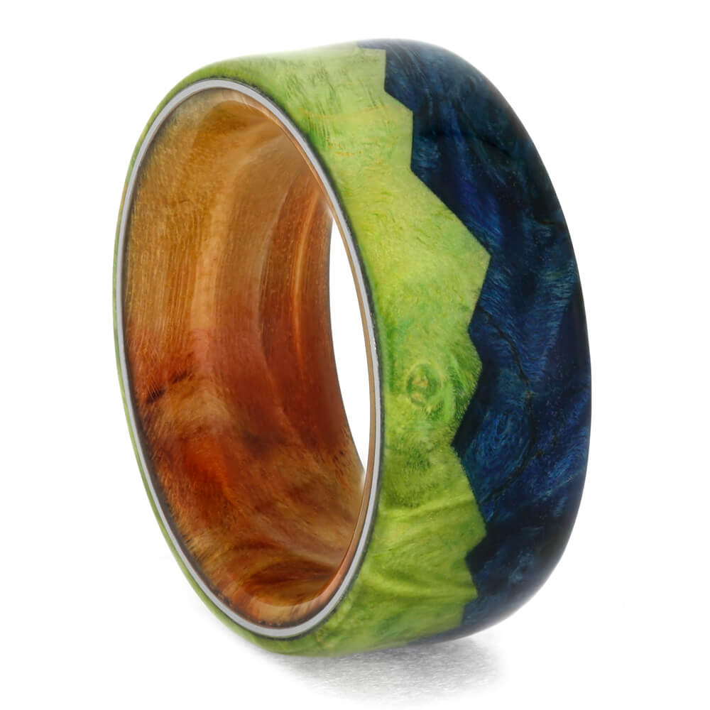 Wood Wedding Ring with Mountain Design, Peridot and Blue Box Elder Burl-3962 - Jewelry by Johan