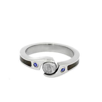 Meteorite Engagement Ring, Dinosaur Bone Ring with Sapphire-3964 - Jewelry by Johan