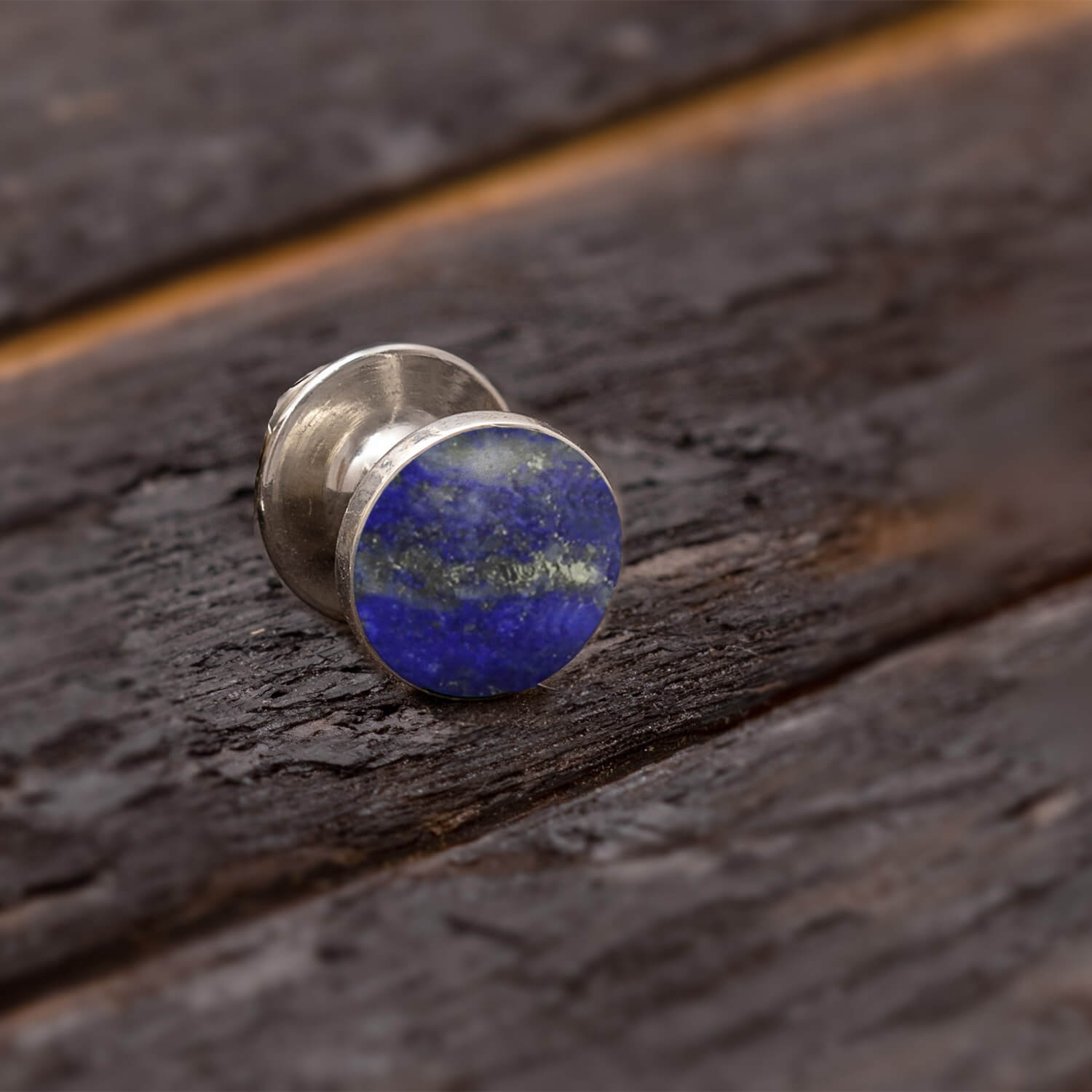 Round Lapis Lazuli Tie Tack in Sterling Silver-3976 - Jewelry by Johan