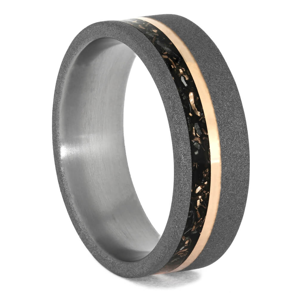 Black Stardust™ Wedding Band with Rose Gold Pinstripe In Titanium-3984 - Jewelry by Johan