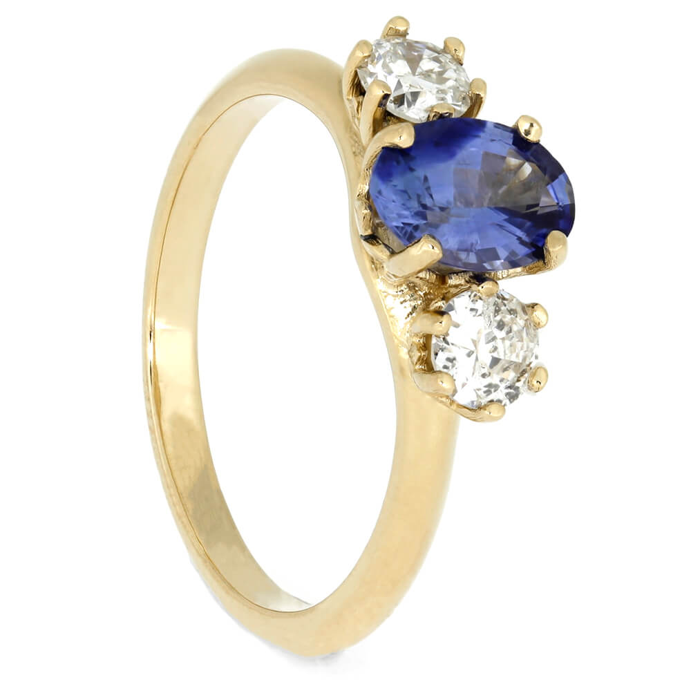 Three Stone Engagement Ring With Sapphire and Diamonds-3986 - Jewelry by Johan