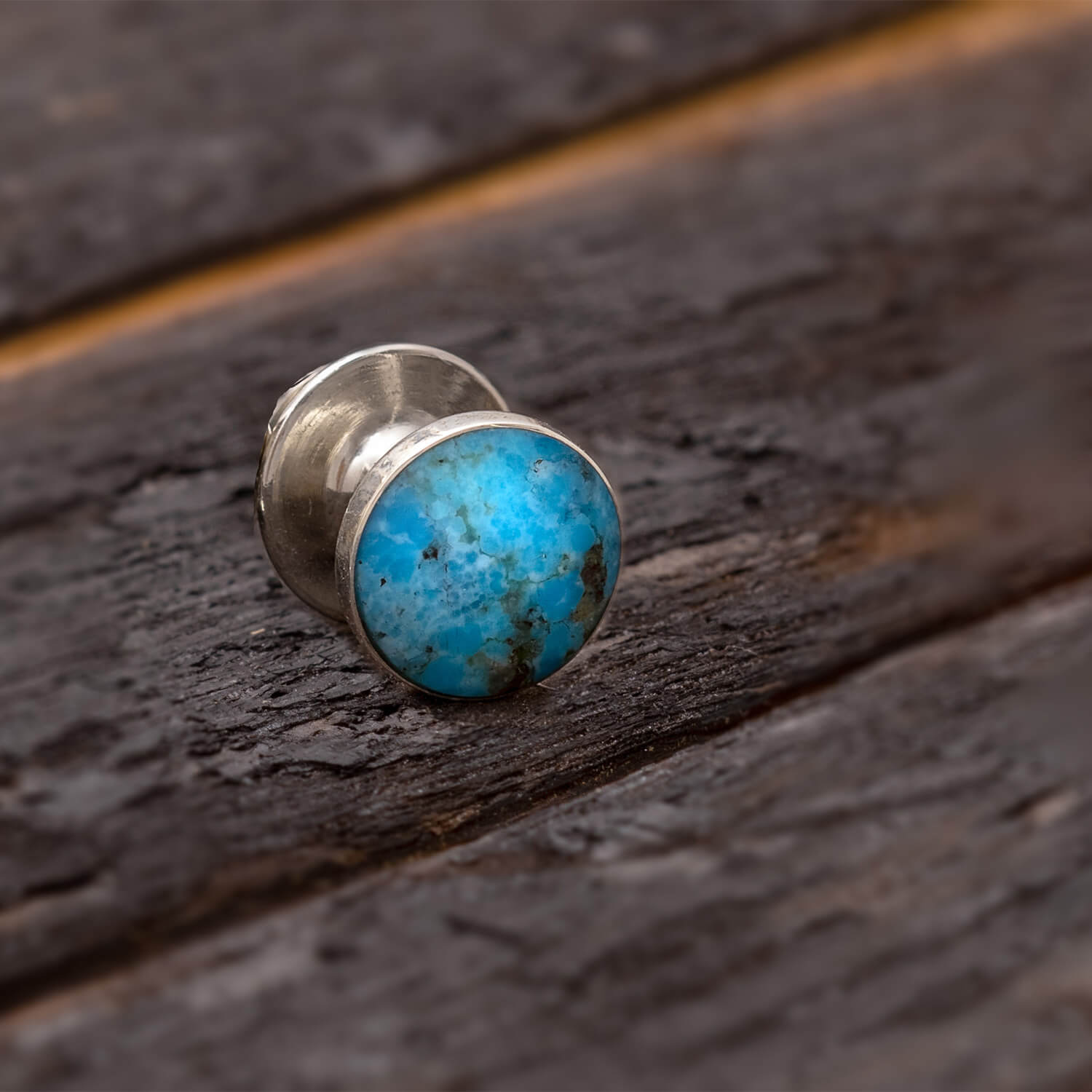 Turquoise Tie Tack With Sterling Silver, Blue Turquoise Accessory-3987 - Jewelry by Johan