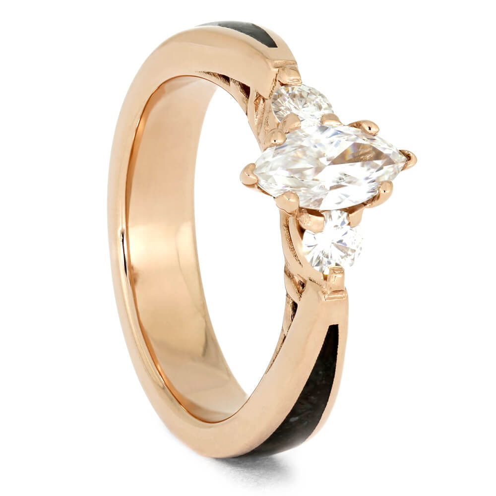 Moissanite Engagement Ring in Rose Gold With Dinosaur Bone-3989 - Jewelry by Johan