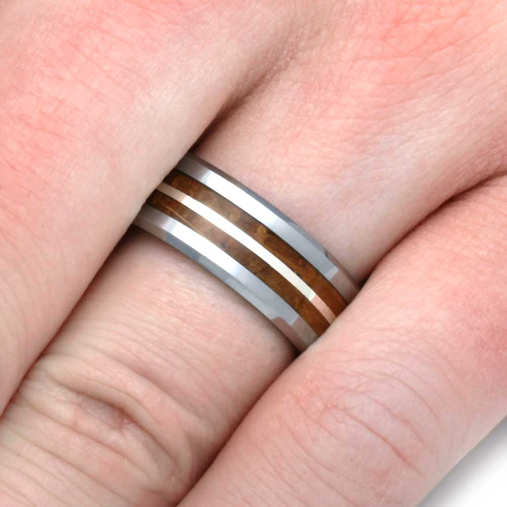 Tungsten Ring With Whiskey Barrel Oak Wood Inlays & Silver - Jewelry ...