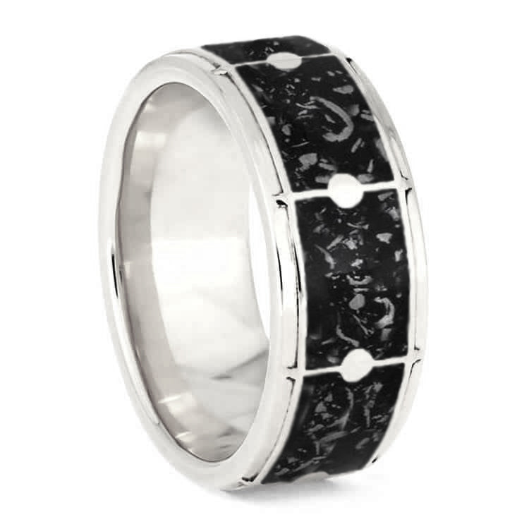 Drum Ring with Black Stardust, Unique Ring For Musicians