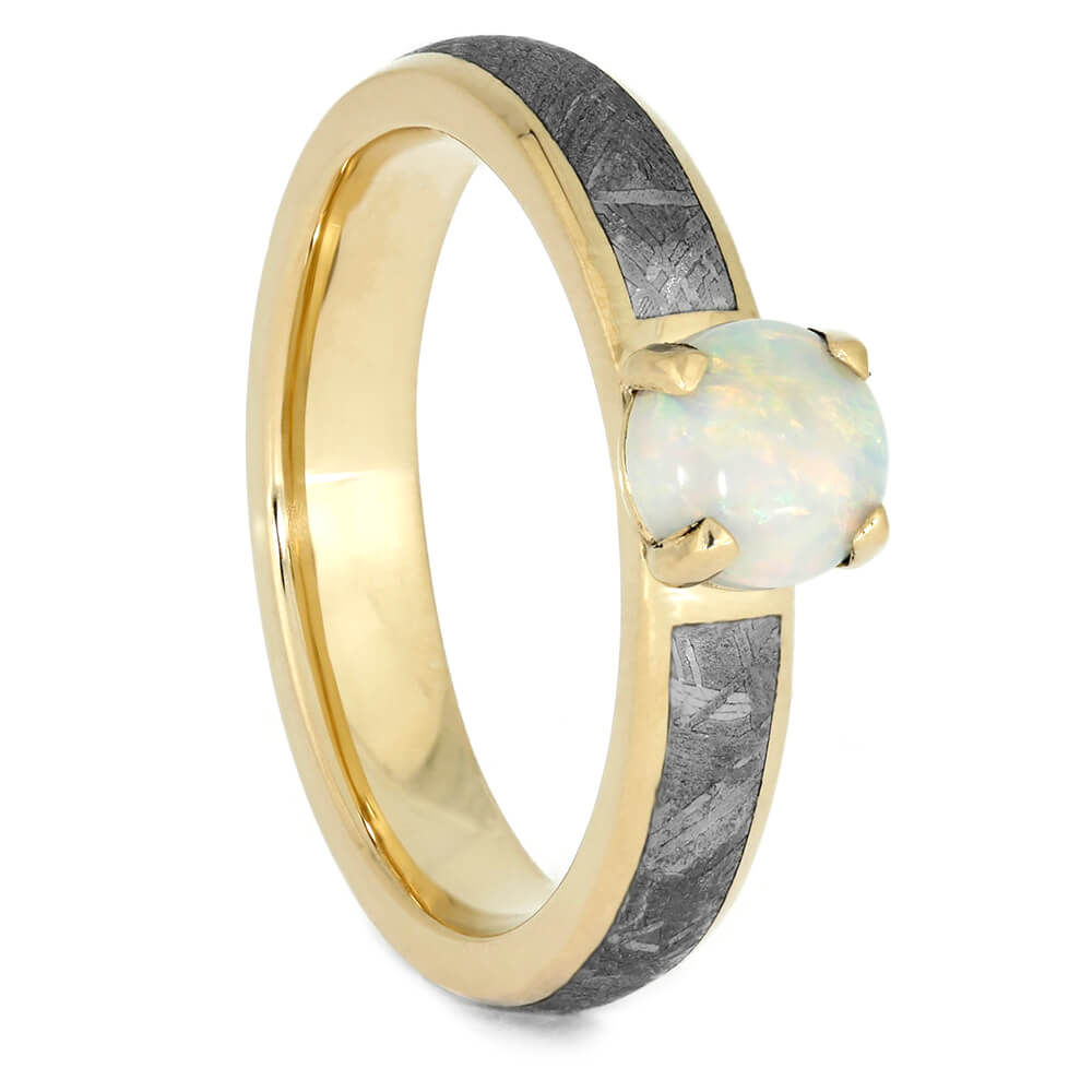 Opal Engagement Ring With Meteorite Band In Yellow Gold-3994 - Jewelry by Johan