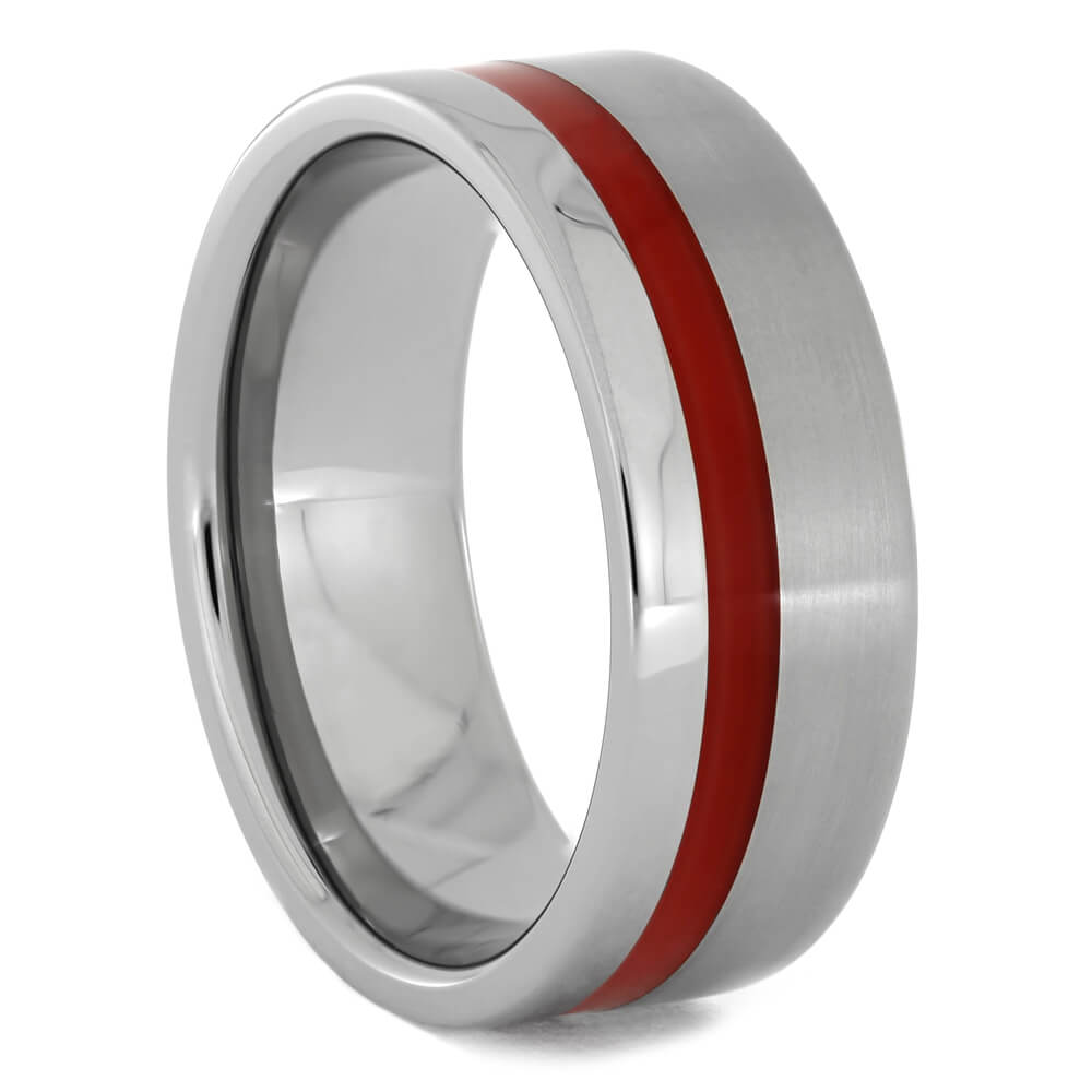 Dual Finish Titanium Wedding Band with Red Enamel Pinstripe-3996 - Jewelry by Johan