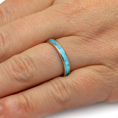 White Gold And Turquoise Women's Wedding Band-4357 - Jewelry by Johan