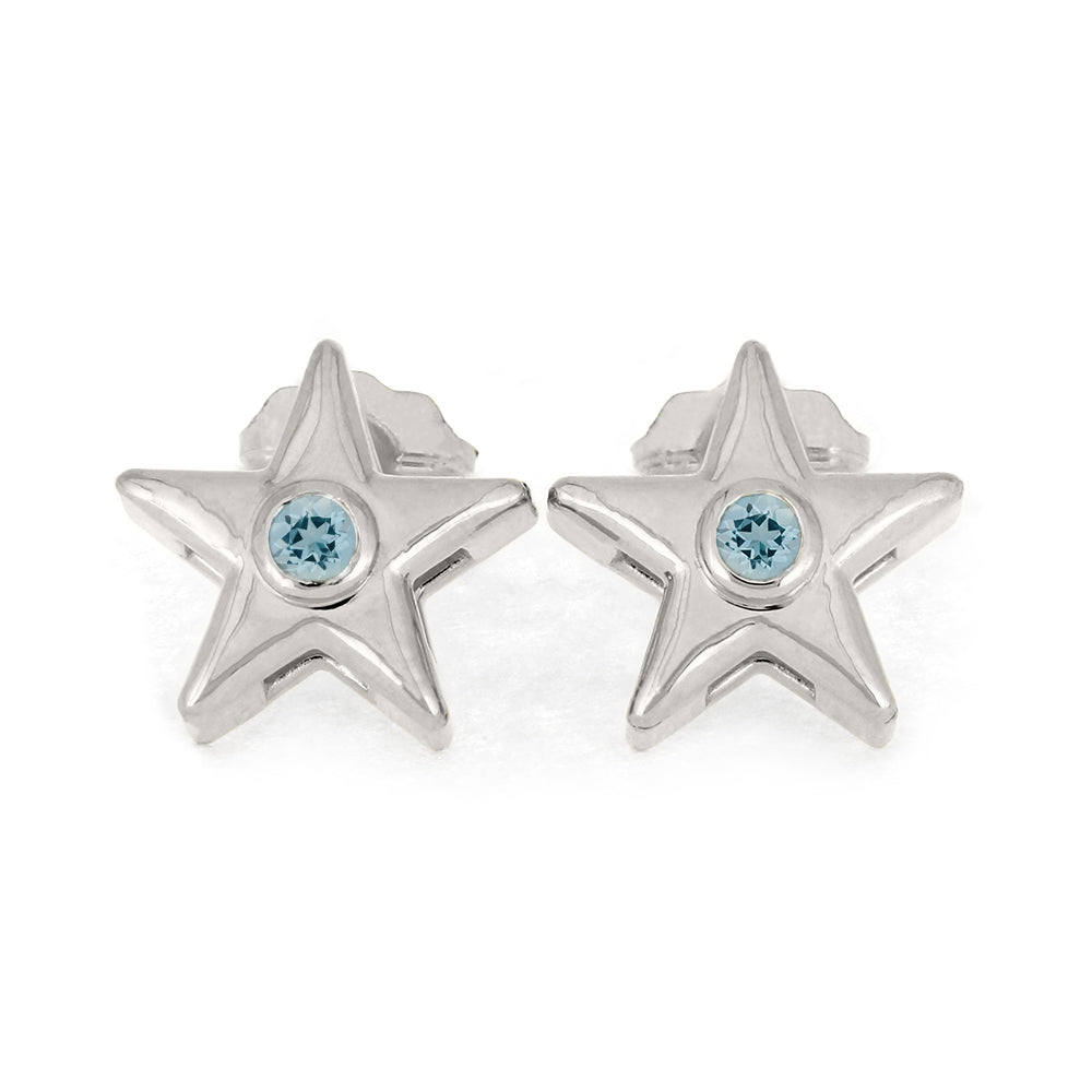 March Birthstone Gold Star Earrings with Aquamarine-4650AQ - Jewelry by Johan