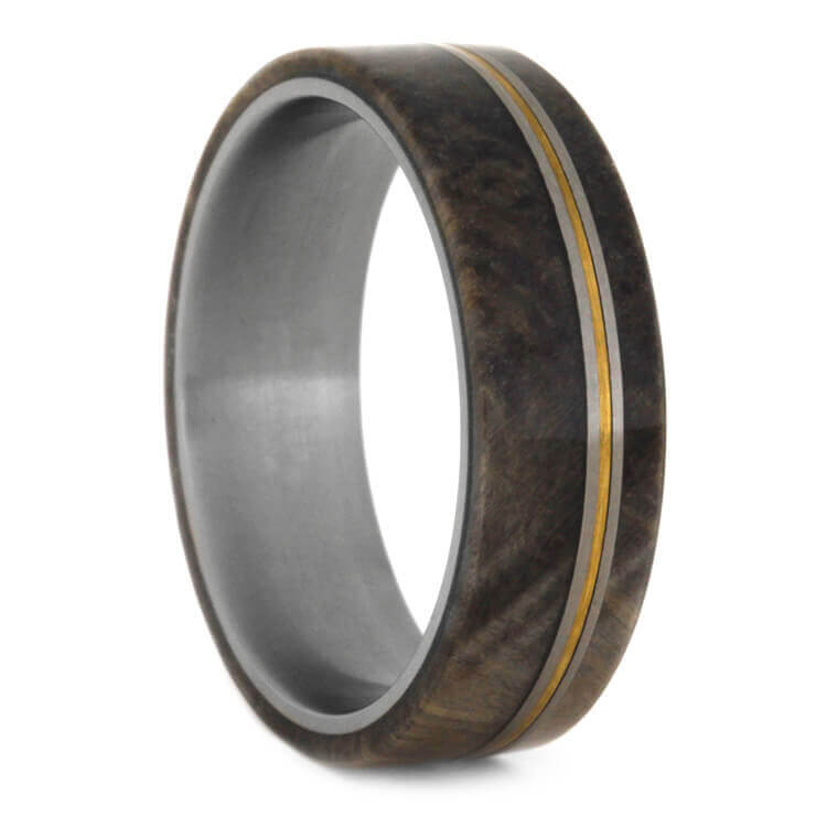 Buckeye Burl Wood Band With Mixed Metal Pinstripes, Size 13-RS9376 - Jewelry by Johan