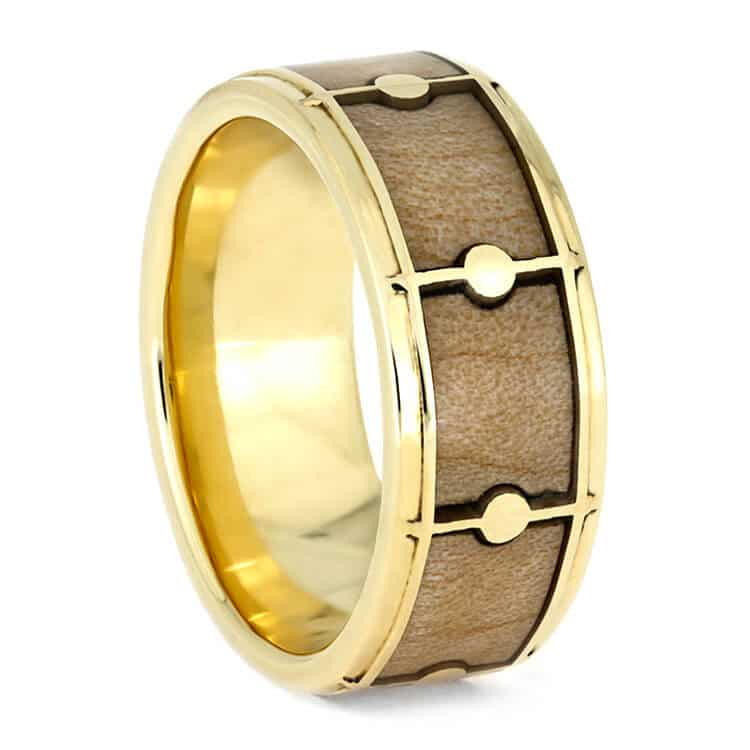 Drum Ring With 14k Yellow Gold, Maple Wood Ring For Musicians-3809 - Jewelry by Johan