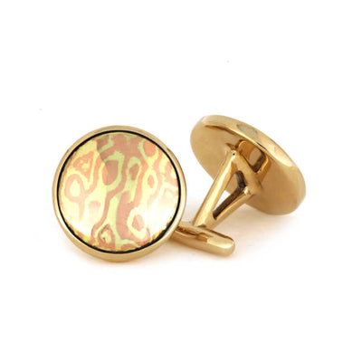 Round Mokume Gane Cuff Links in Bronze-2970 - Jewelry by Johan