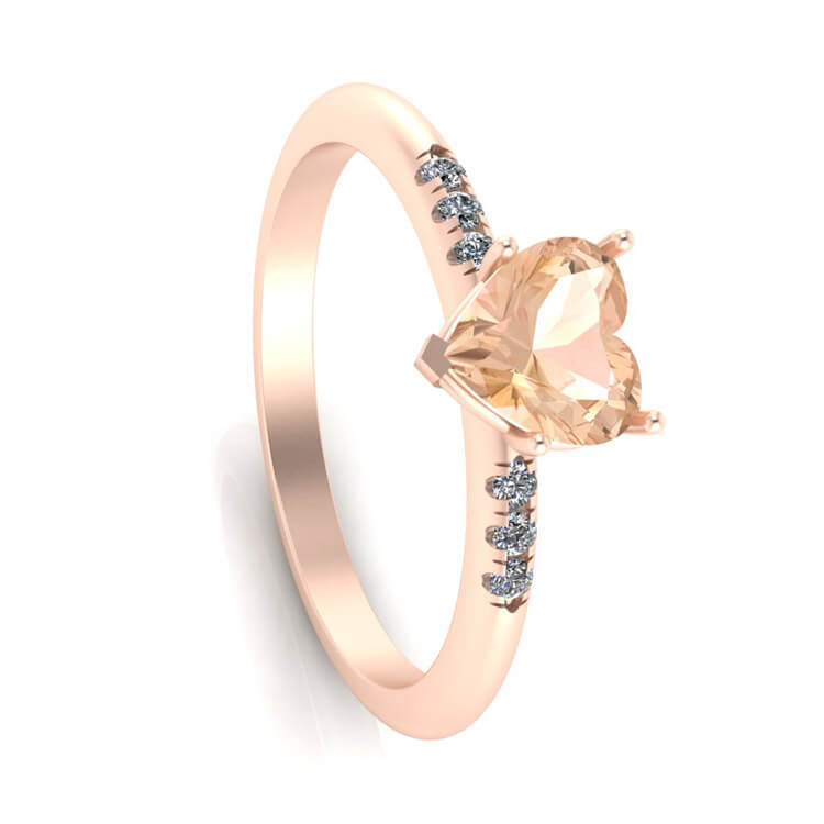 Citrine Engagement Ring, 14k Rose Gold Ring With Diamonds, Heart Ring-3383 - Jewelry by Johan