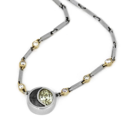Meteorite And Peridot Pendant Necklace in Platinum With Diamonds-3419 - Jewelry by Johan