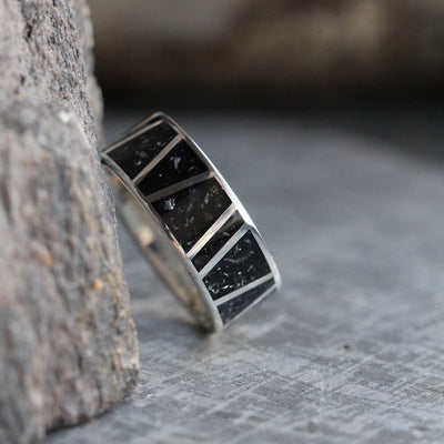 Male Wedding Band With Meteorite