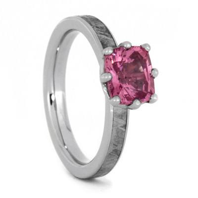 Pink Gemstone 10k White Gold Engagement Ring with Meteorite-1900 - Jewelry by Johan