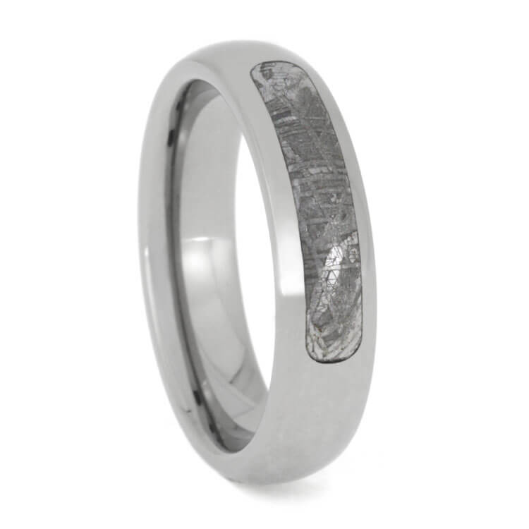 Partial Gibeon Meteorite Ring In Titanium Wedding Band, Size 7-RS9940 - Jewelry by Johan