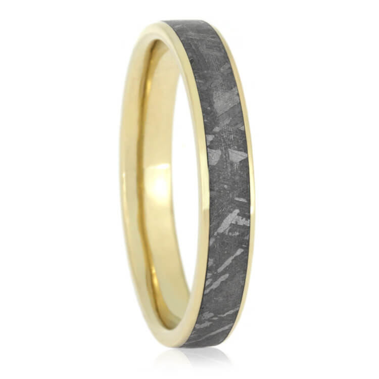 Yellow Gold Men's Wedding Band With Meteorite, Size 15.5-RS9716 - Jewelry by Johan