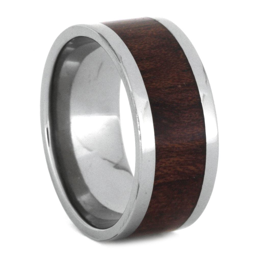 Koa Wood Ring in Titanium Band