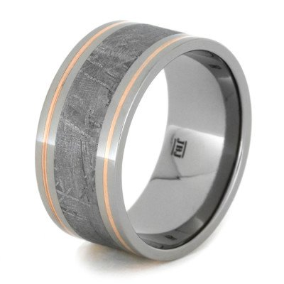Meteorite Men's Wedding Band With Copper Pinstripes-1941 - Jewelry by Johan