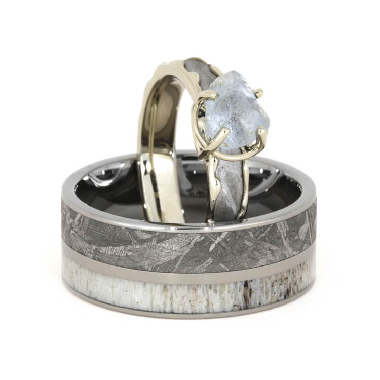 Meteorite Wedding Ring Set With Rough Diamond Engagement Ring-3428 - Jewelry by Johan