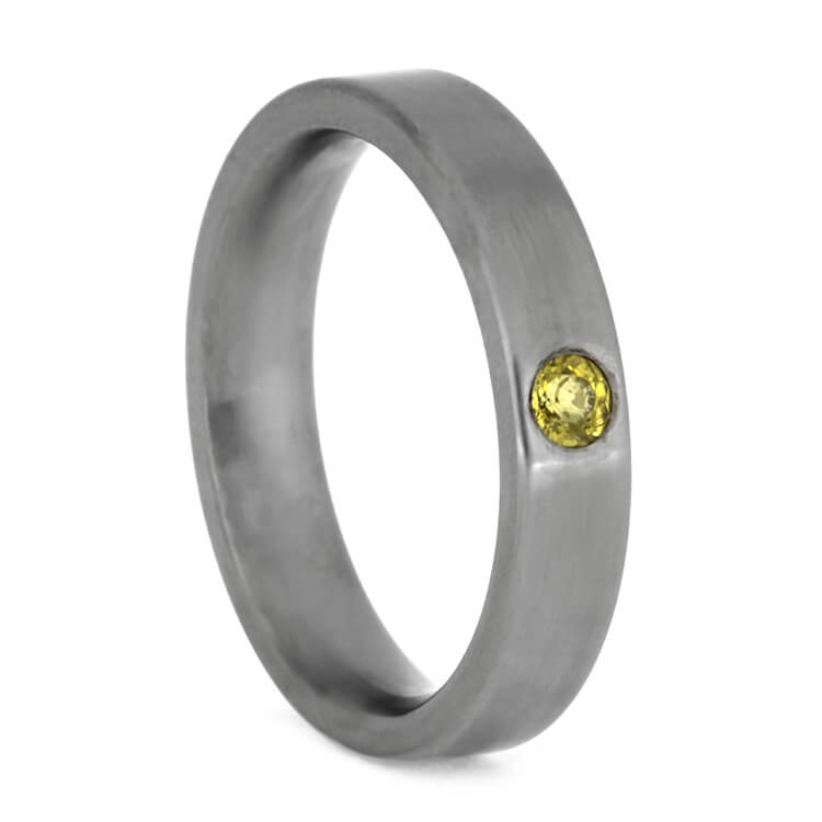 Yellow Sapphire Wedding Band In Brushed Titanium, Size 6.25-RS10177 - Jewelry by Johan