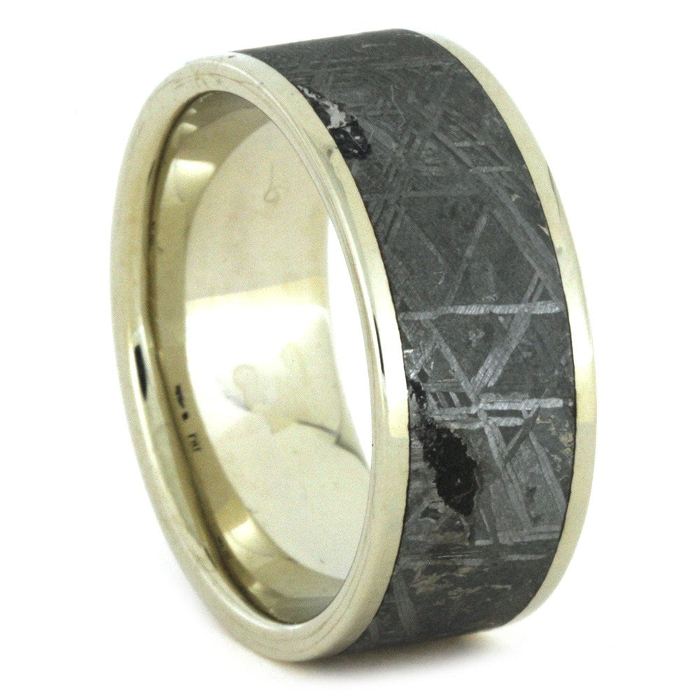 Gibeon Meteorite Wedding Band in White Gold, Size 9.5-RS8657 - Jewelry by Johan