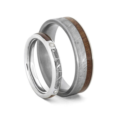 Wedding Ring Set, Meteorite Diamond Ring and Wood Wedding Band-1754 - Jewelry by Johan