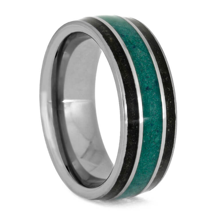 Men's Tungsten Wedding Band With Malachite And Dinosaur Bone-3685 - Jewelry by Johan