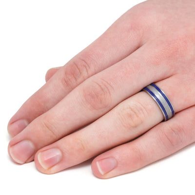 Meteorite Ring with Blue Stripes, Blue Enamel in Titanium Ring-3304 - Jewelry by Johan