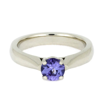 Purple Wedding Ring Set, Tanzanite Ring With Wood Wedding Band-3710 - Jewelry by Johan