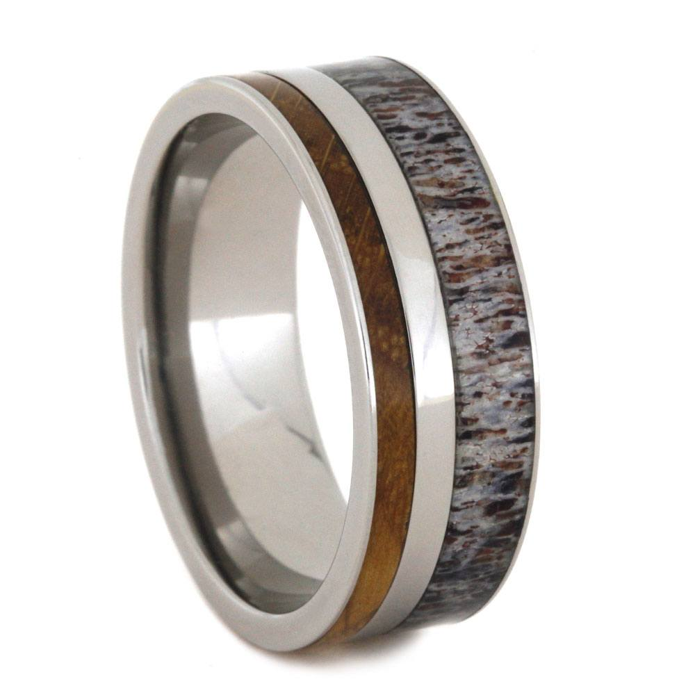 Deer Antler Ring With Whiskey Barrel Oak Wood-2810 - Jewelry by Johan