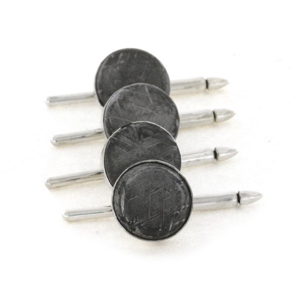 Set of Authentic Meteorite Shirt Studs in Sterling Silver-1934 - Jewelry by Johan