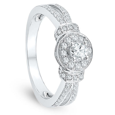 Round Diamond Engagement Ring, Sterling Silver