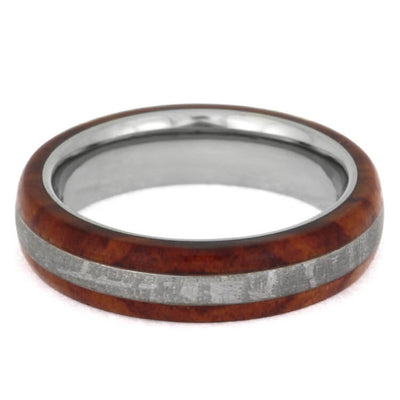 Colorful Meteorite Ring, Titanium Wedding Band With Tulipwood Overlay-2429 - Jewelry by Johan
